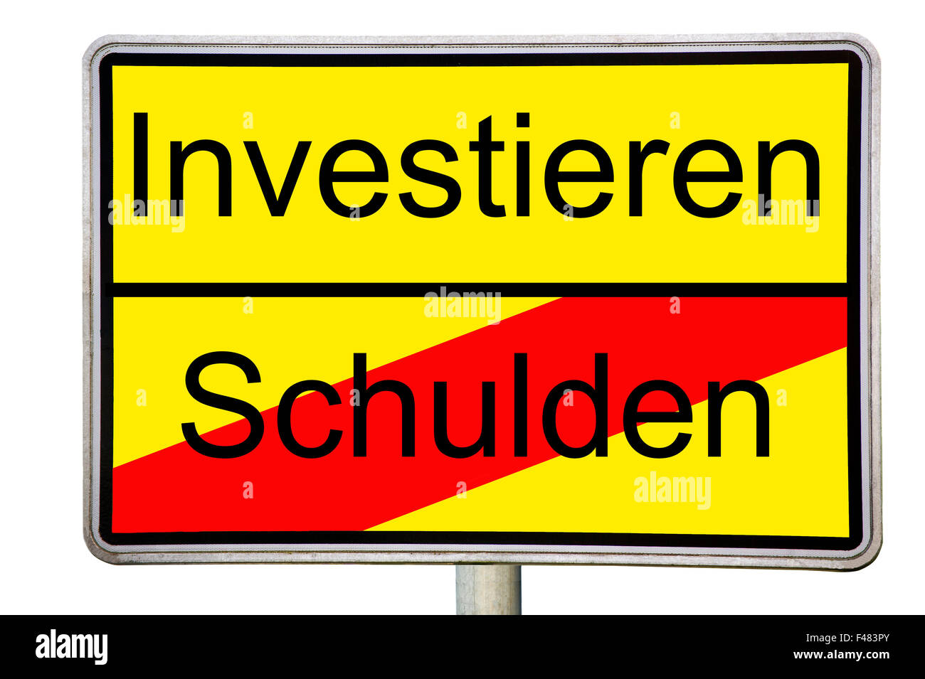 Road sign Invest debt - Stock Image