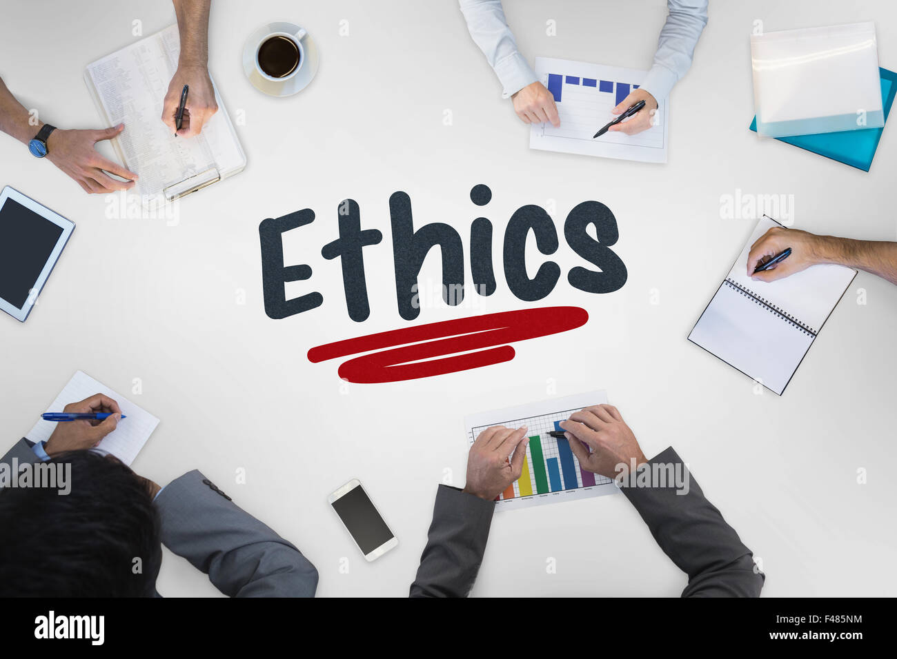 Ethics against business meeting - Stock Image