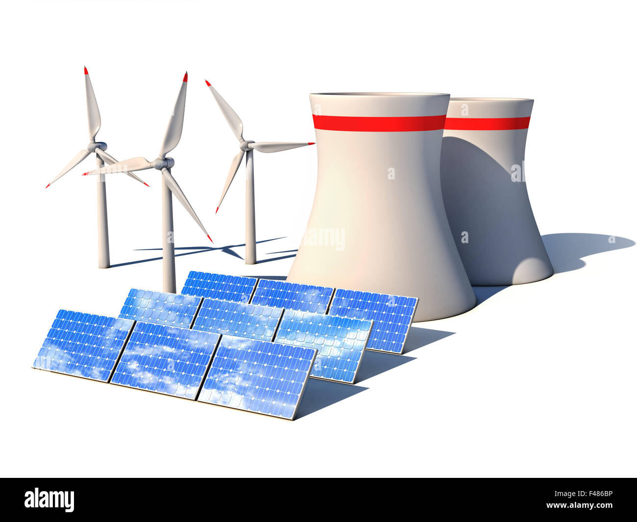 alternative energy 3d concept - Wind power station nuclear power plant and  solar panels against white
