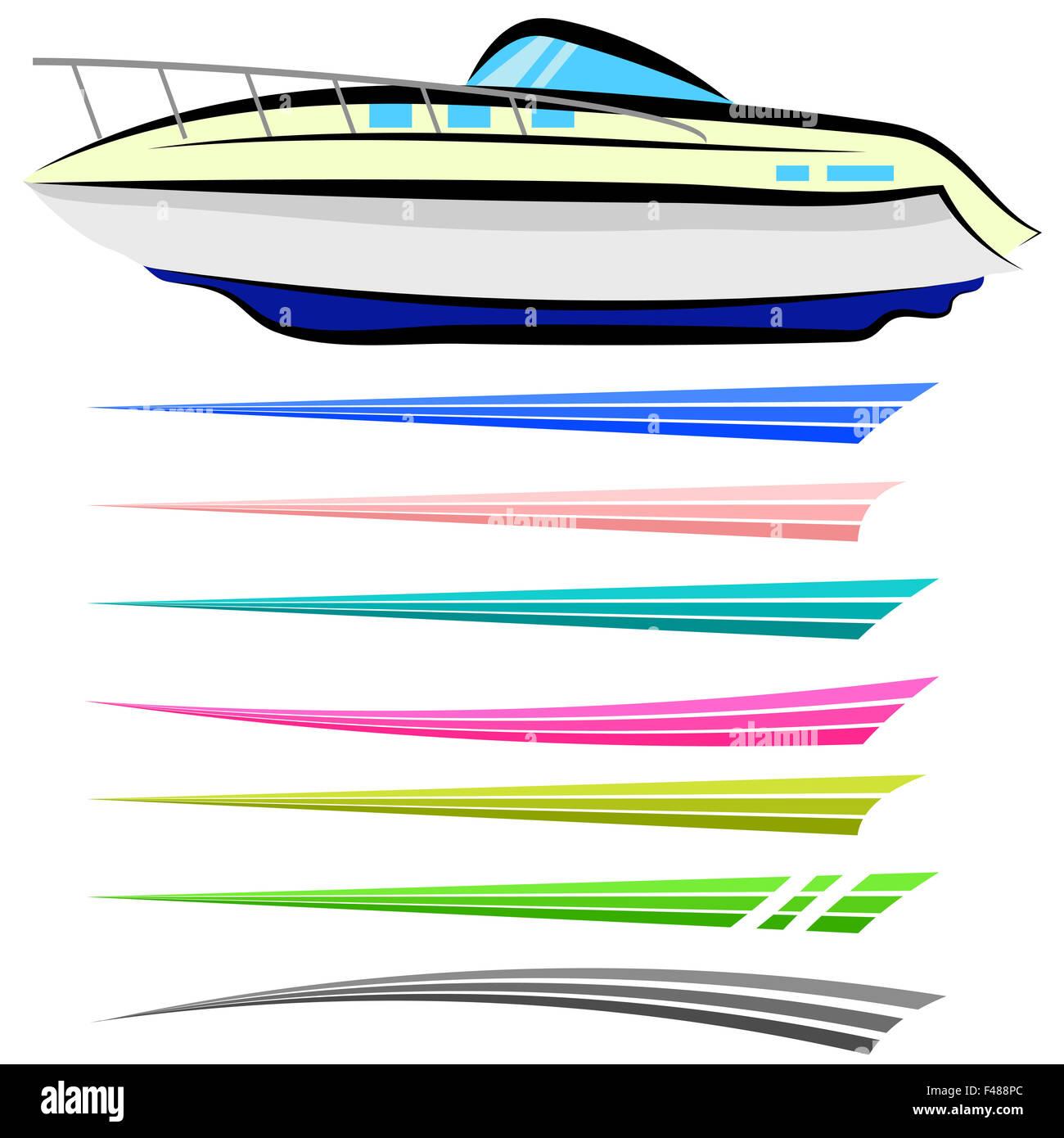 Boat Graphics Stripe Vinyl Ready Stock Photos & Boat
