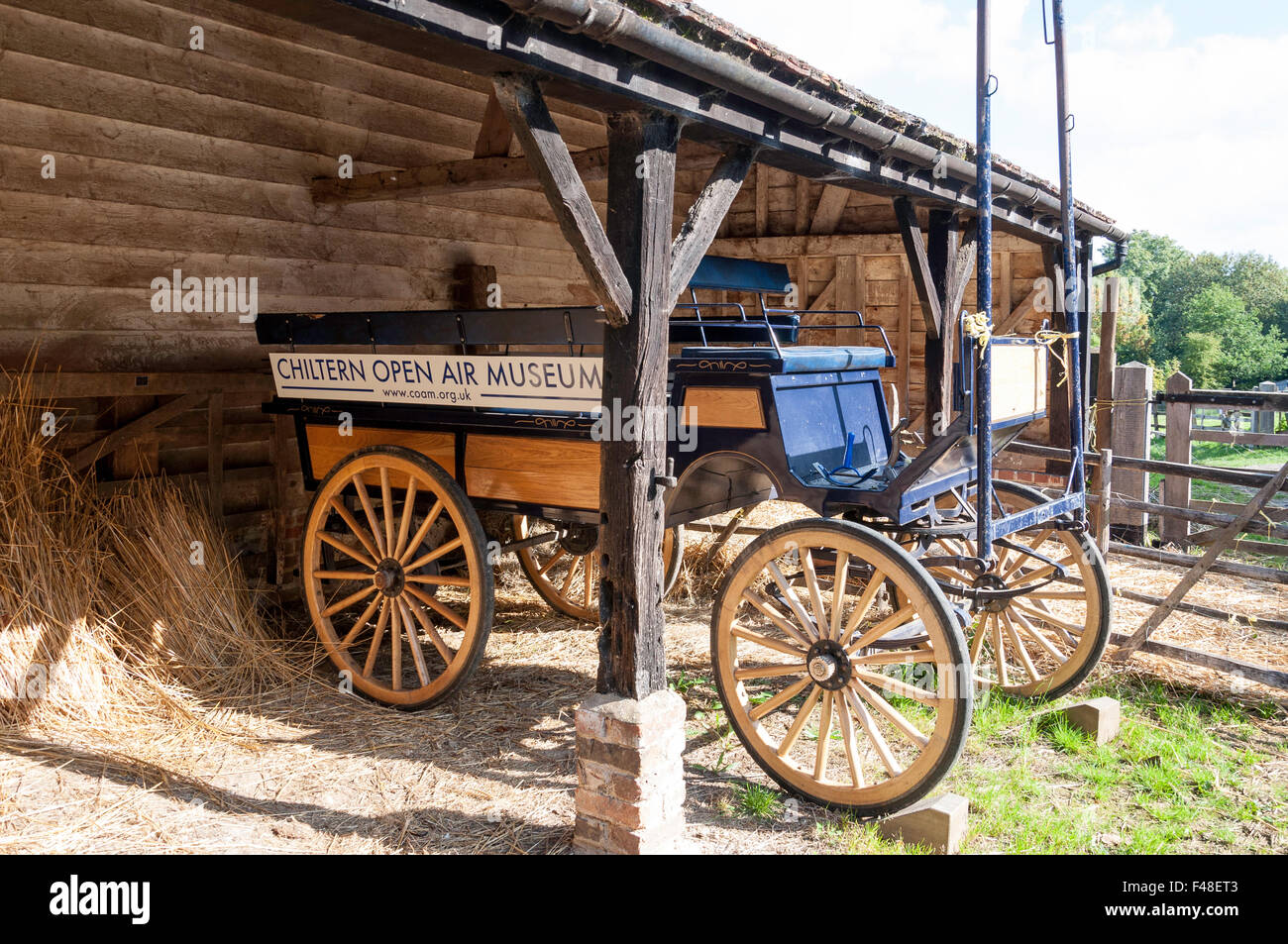 Horse carriage at Chiltern Open Air Museum, Newland Park, Chalfont St Giles, Buckinghamshire, England, United Kingdom - Stock Image