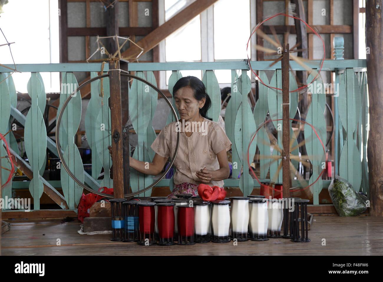 ASIA MYANMAR NYAUNGSHWE WEAVING FACTORY - Stock Image