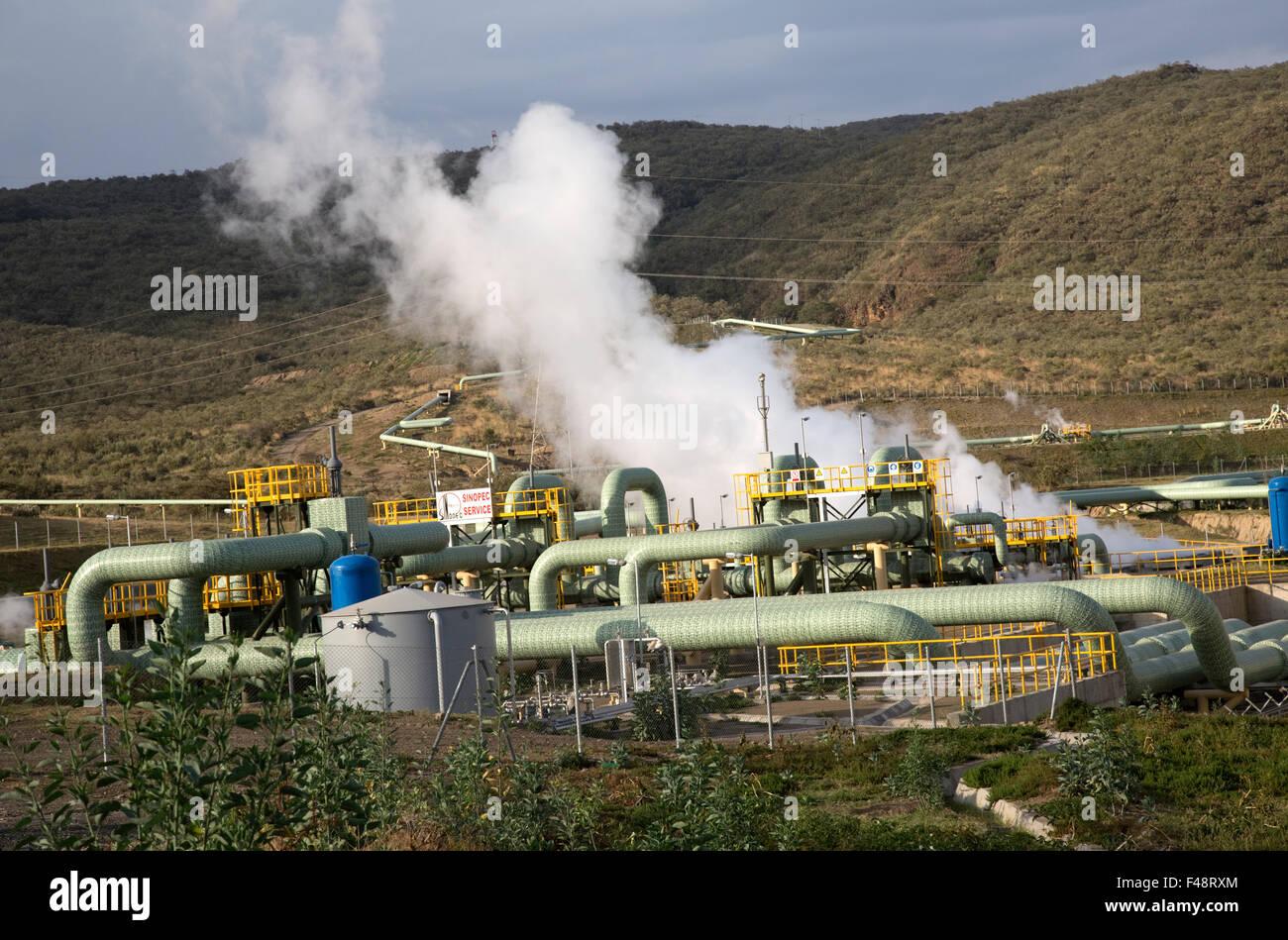 Olkaria 280MW geothermal energy plant Hell's Gate Rift Valley Kenya Stock Photo