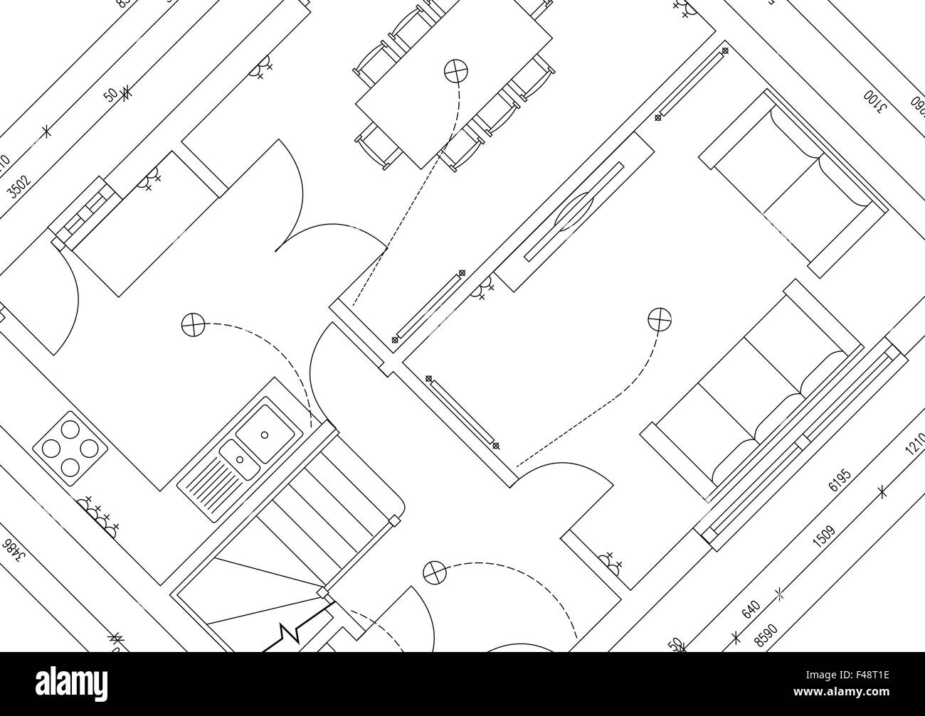 Blueprint plan of 3 bedroom house stock photo 88704938 alamy blueprint plan of 3 bedroom house malvernweather Choice Image