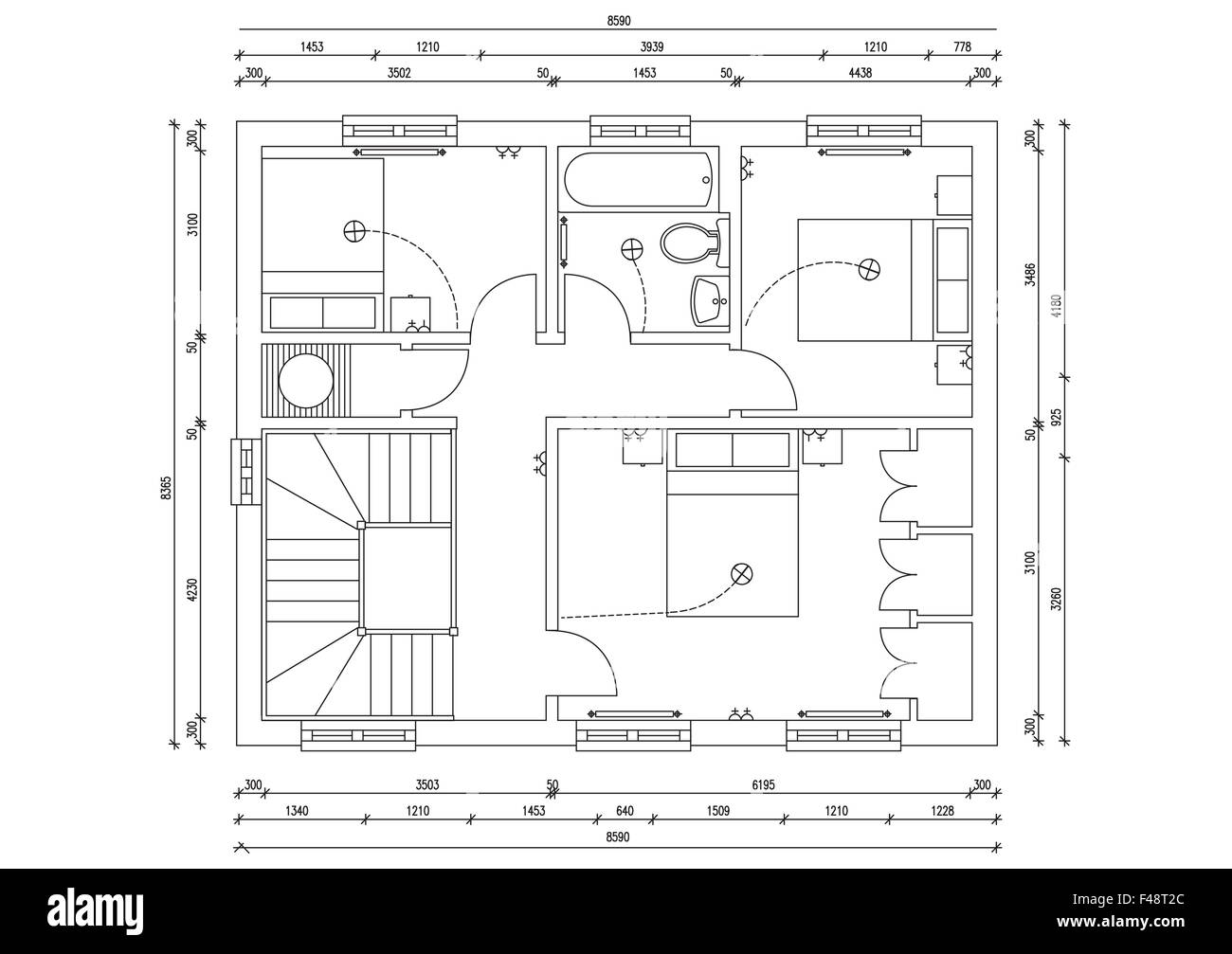 Blueprint plan of 3 bedroom house stock photo 88704964 alamy blueprint plan of 3 bedroom house malvernweather