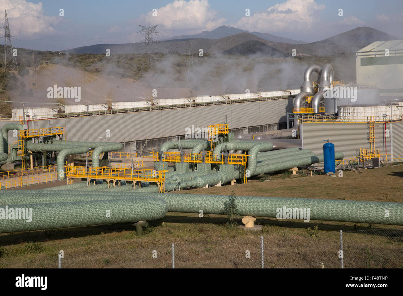 Olkaria 280MW geothermal energy plant Hell's Gate Rift Valley Kenya Stock Photo