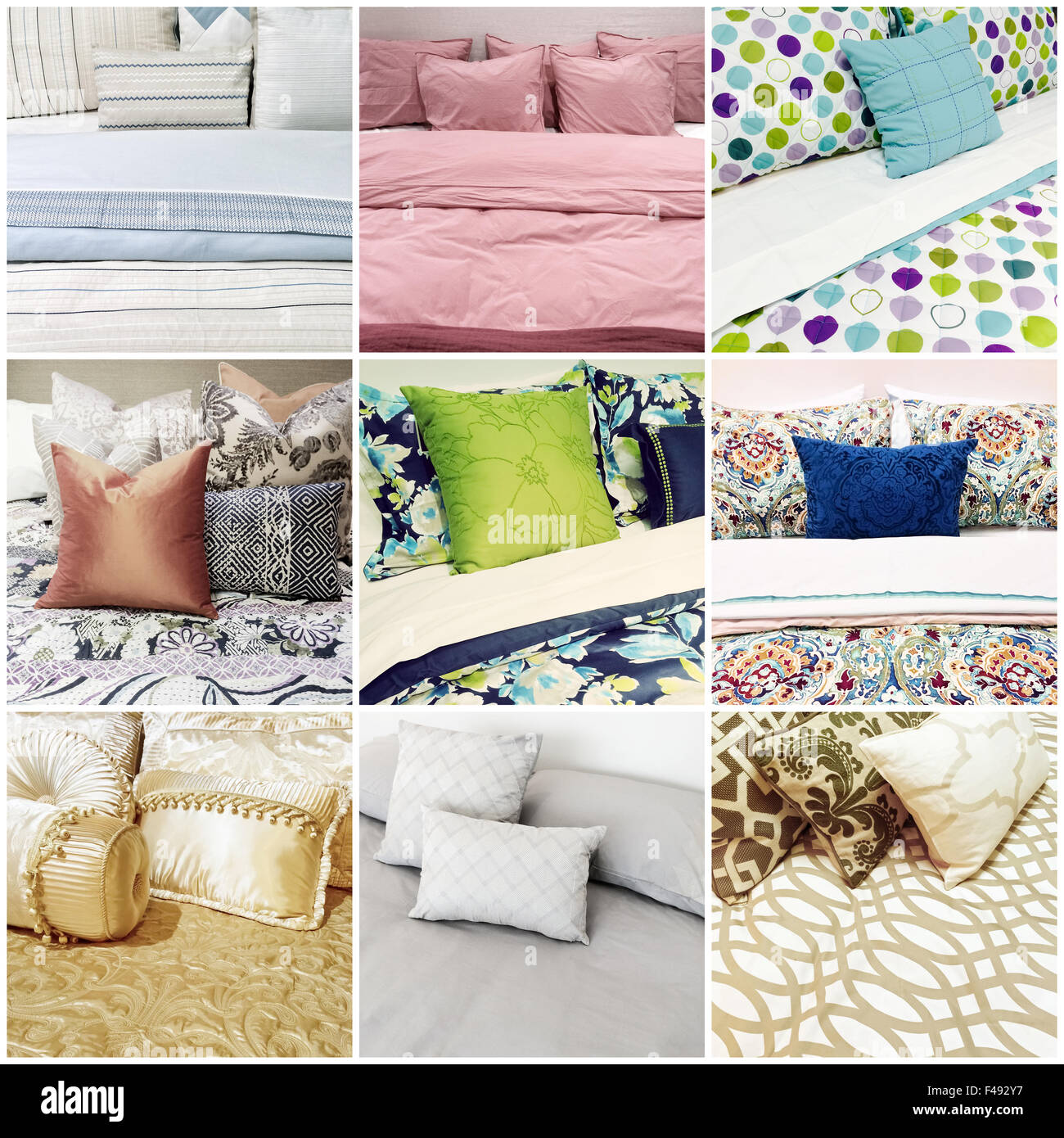 Beds with different styles of bed linen. Collage of nine photos. - Stock Image