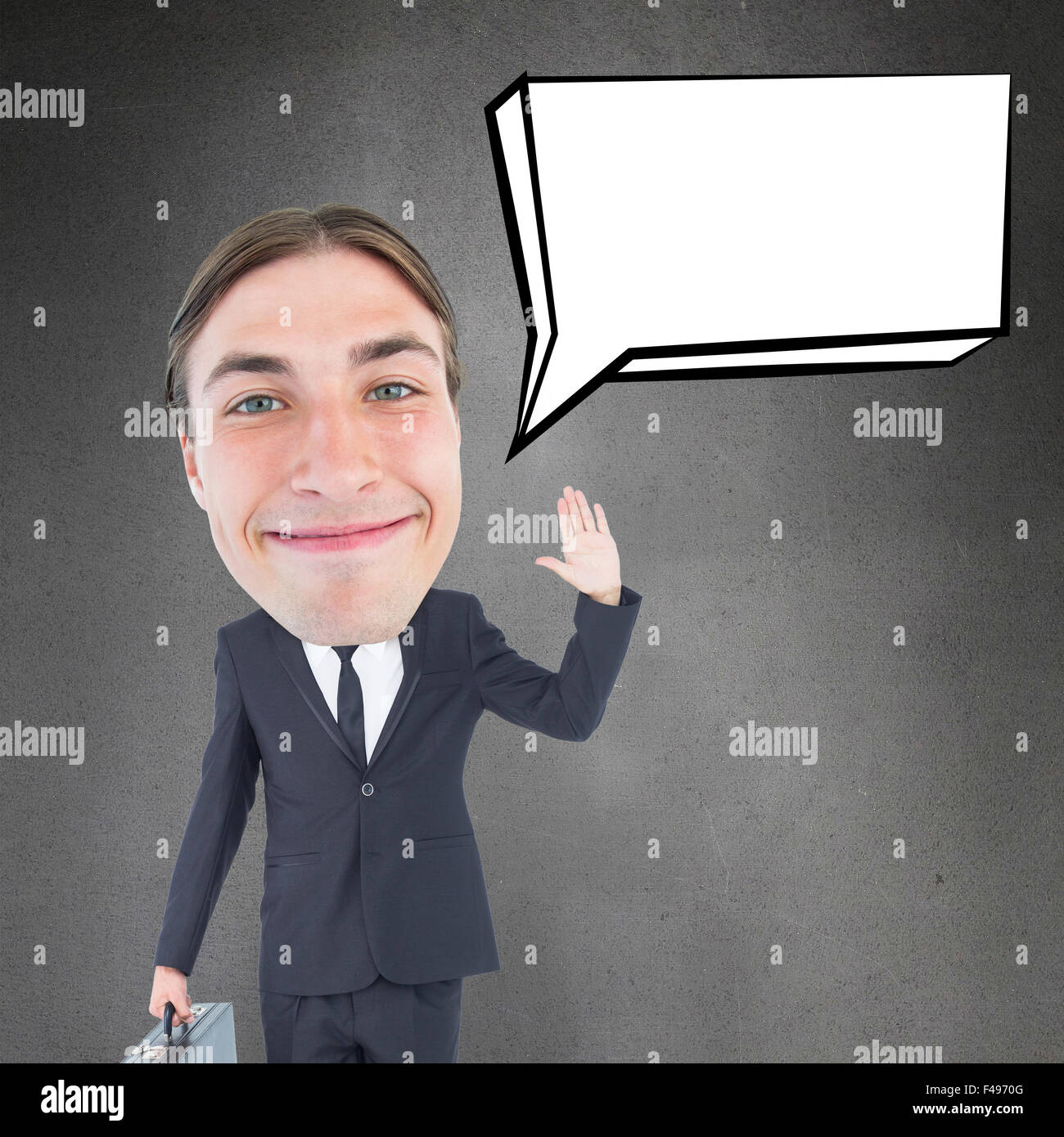 Composite image of geeky businessman waving - Stock Image