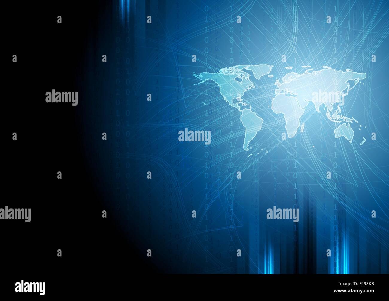Dark blue tech binary system background Stock Photo