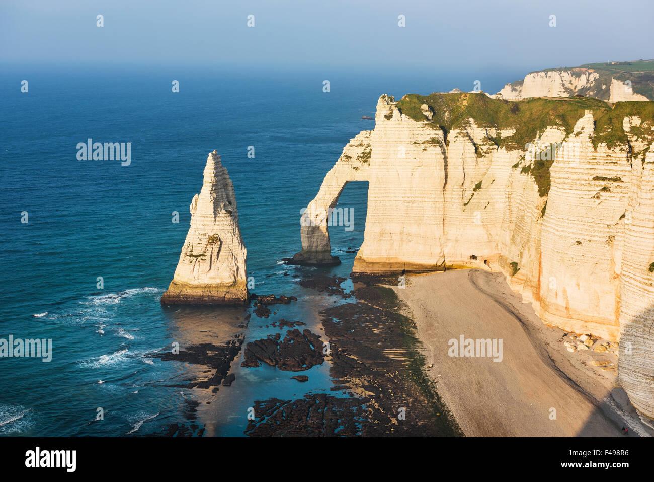 Falaise d'Amont cliff at Etretat, Normandy, France Stock Photo