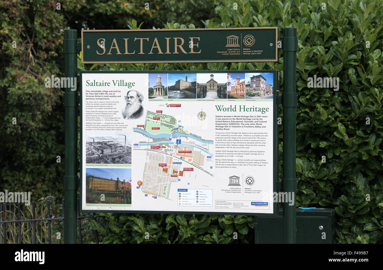 Tourist Information Board at Saltaire Village in Yorkshire Stock