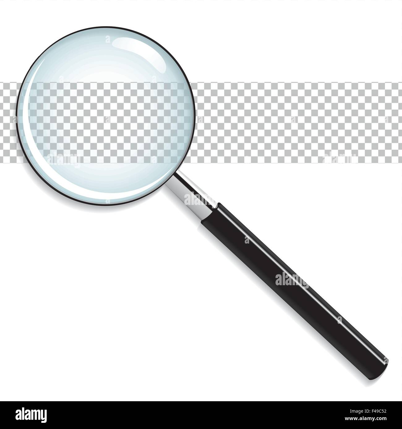 Realistic vector magnifying glass - Stock Image