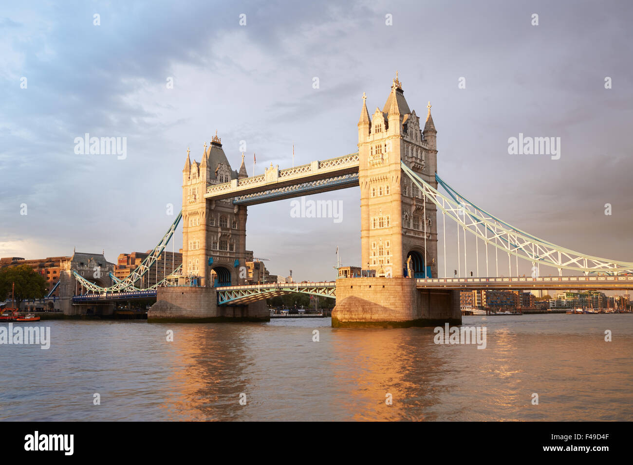 Tower bridge in London in the afternoon sunlight - Stock Image