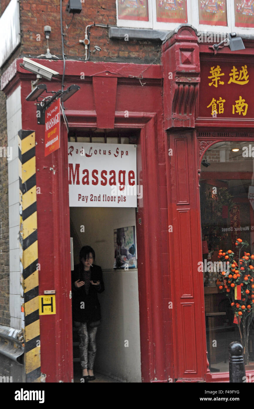 London Uk 2 April 2014 Red Lotus Spa Massage Entrance China Town
