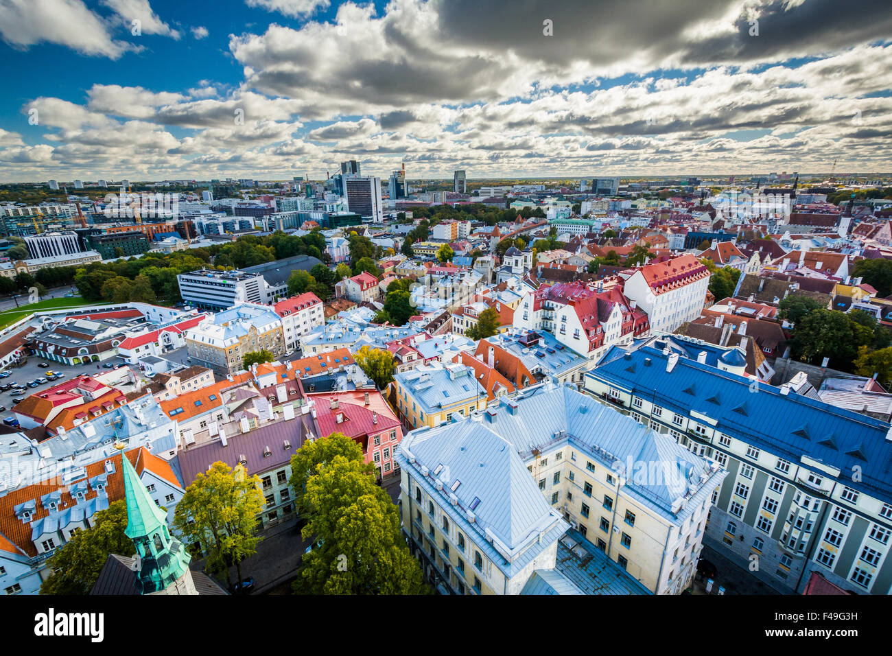 View of the Old Town  from St. Olaf's Church Tower, in Tallinn, Estonia. - Stock Image