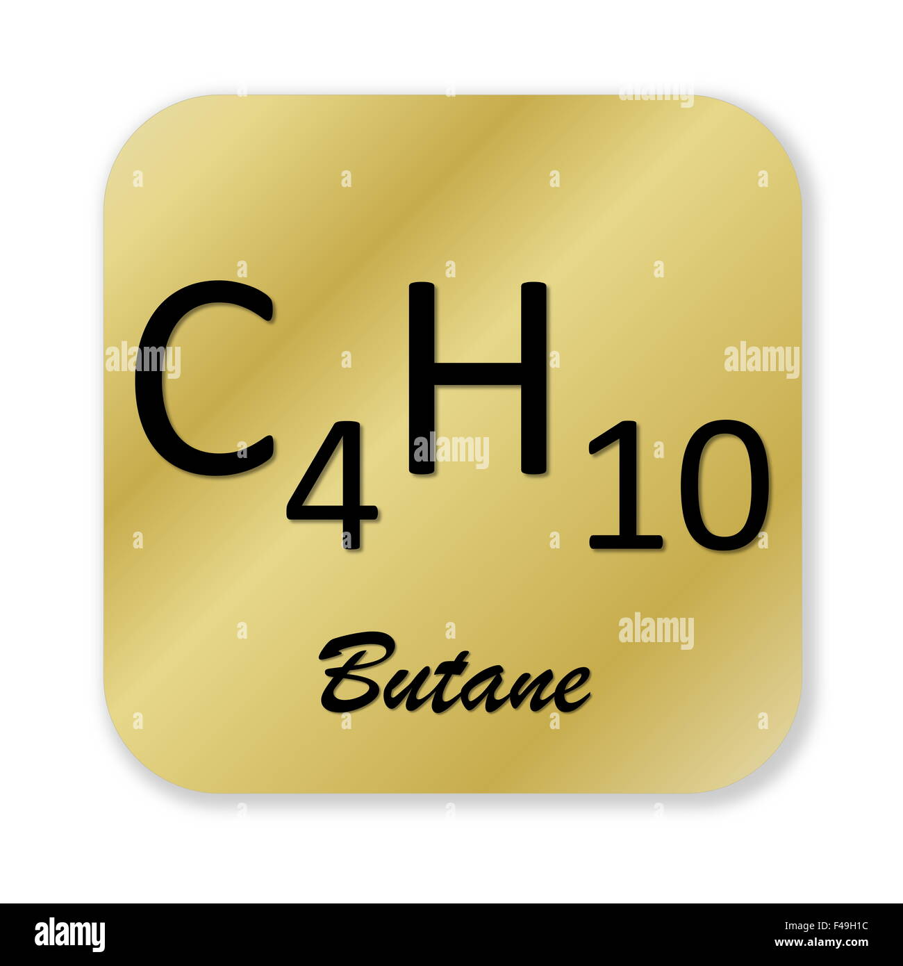 Golden chemical formula of butane symbol isolated in white background - Stock Image