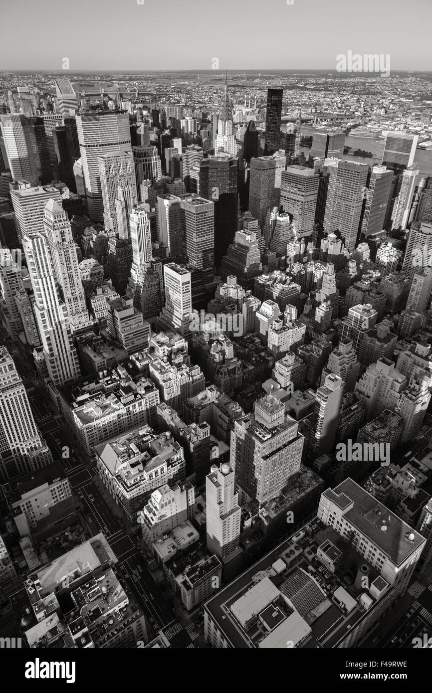 Aerial view of New York cityscape from Manhattan's Midtown East to Upper East Side. Urban view of New York City's - Stock Image