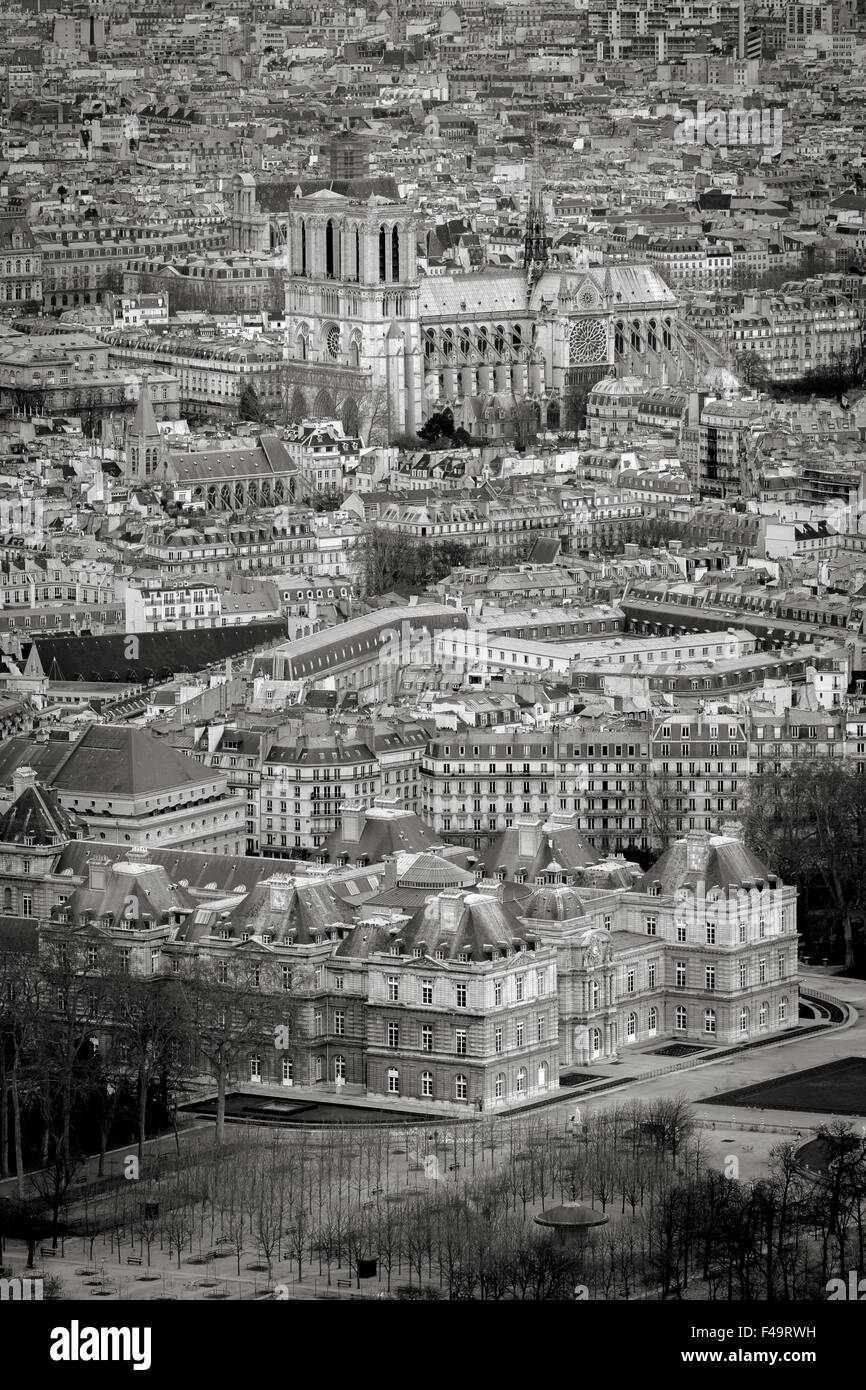 Black & White Paris rooftops from above with Luxembourg Garden and Notre Dame Cathedral. Left Bank, Ile de France, - Stock Image