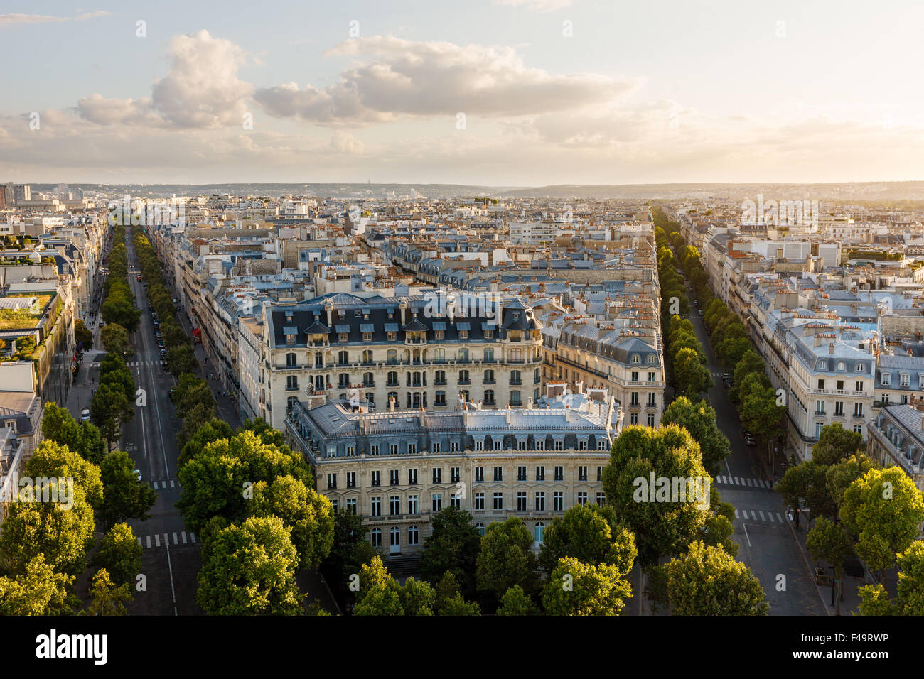 Aerial view of the 16th arrondissement in Paris, France. View of Haussmannian style buildings and rooftops late - Stock Image