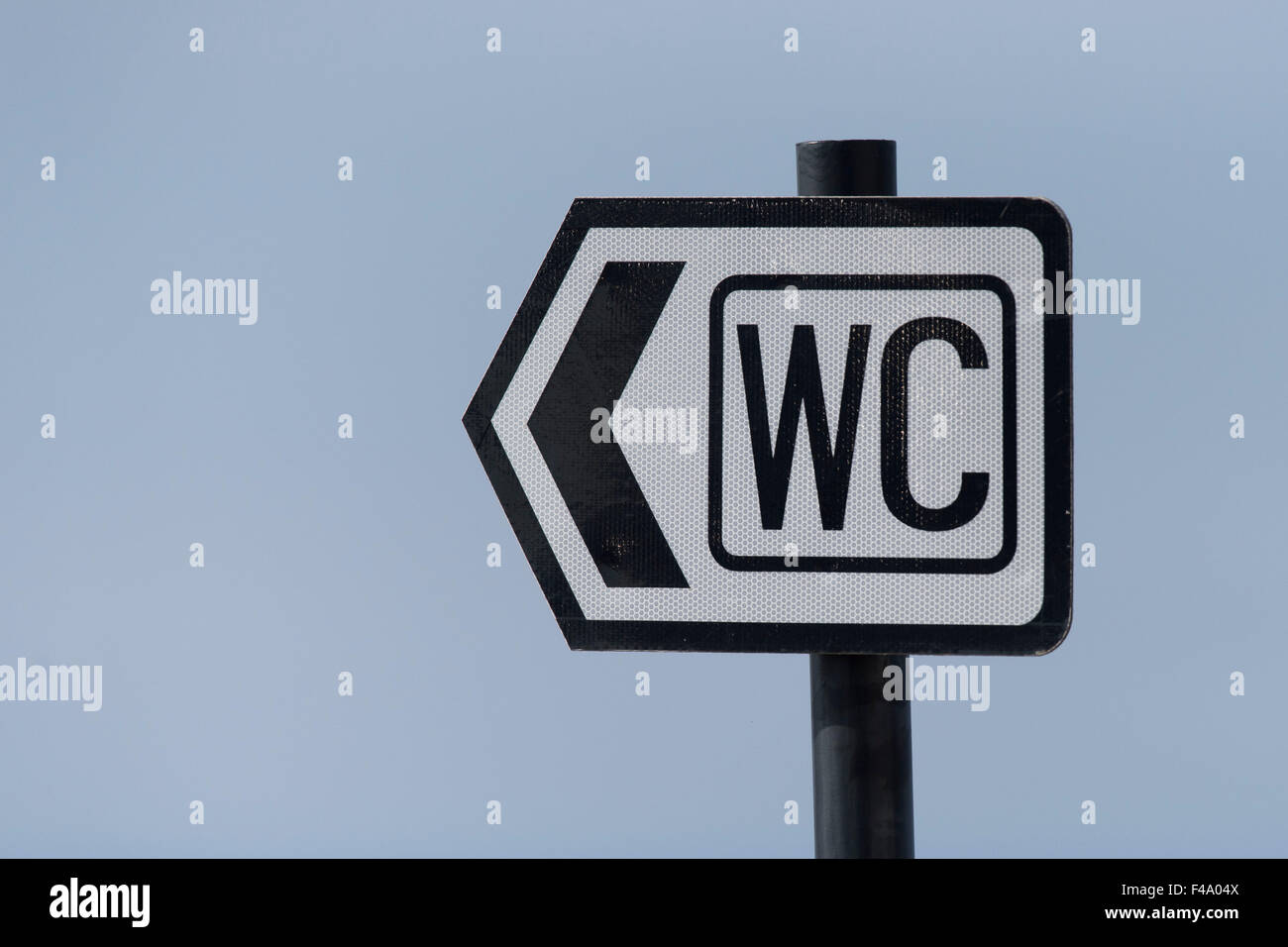 A sign directing to a WC (water closet) or toilet. - Stock Image