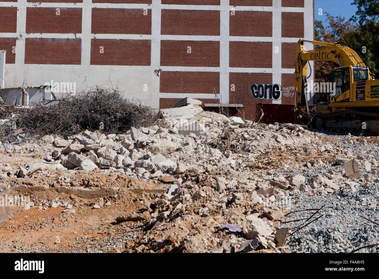 Building demolition site - USA - Stock Image
