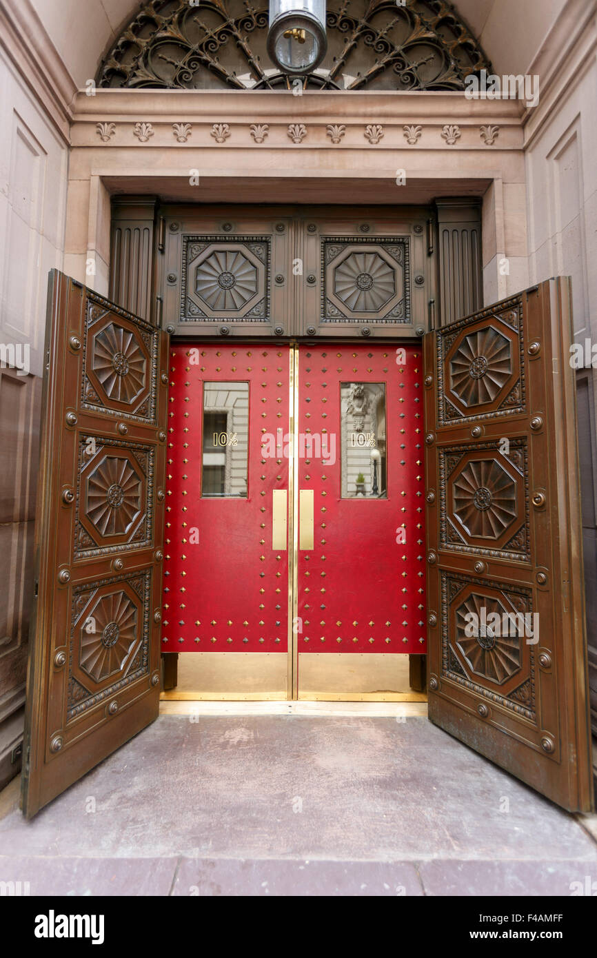 Ornate red leather doors entrance to the Boston Athenaeum 10½ Beacon Street Boston & Ornate red leather doors entrance to the Boston Athenaeum 10½ Beacon ...