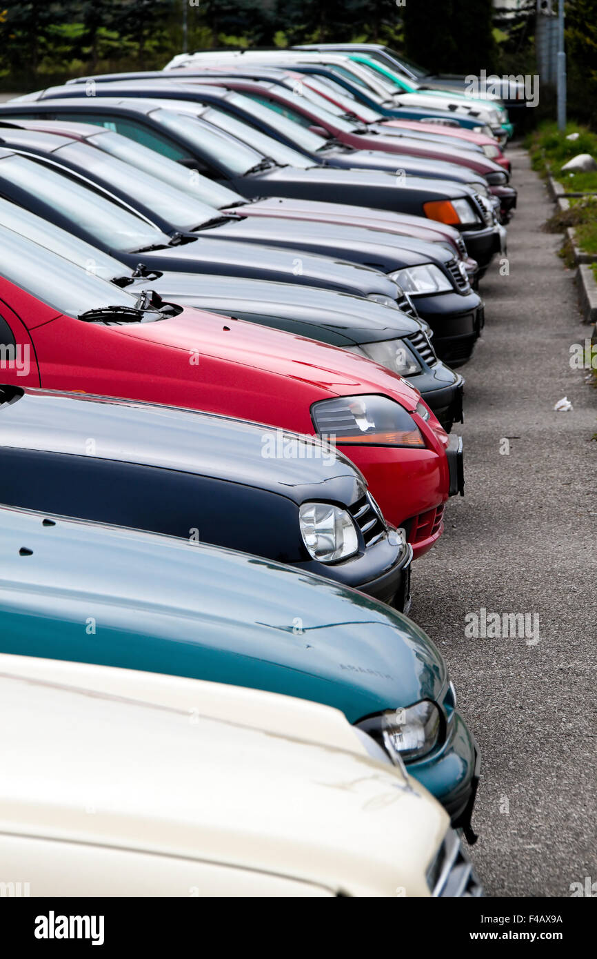 Used cars from car dealers. Used car trade - Stock Image