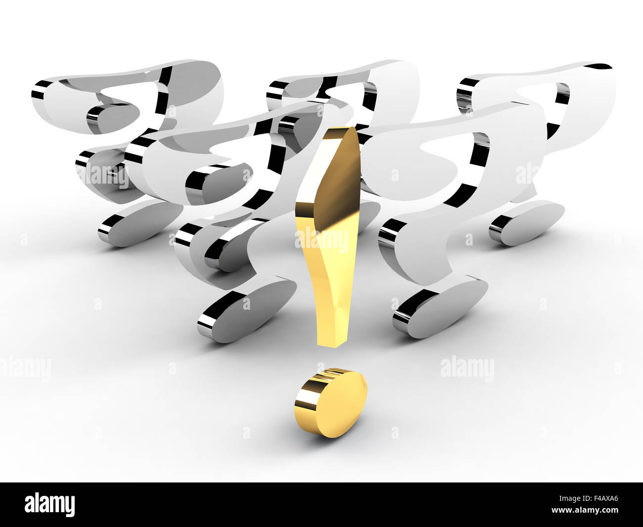 gold exclamation mark leadership concept - Stock Image