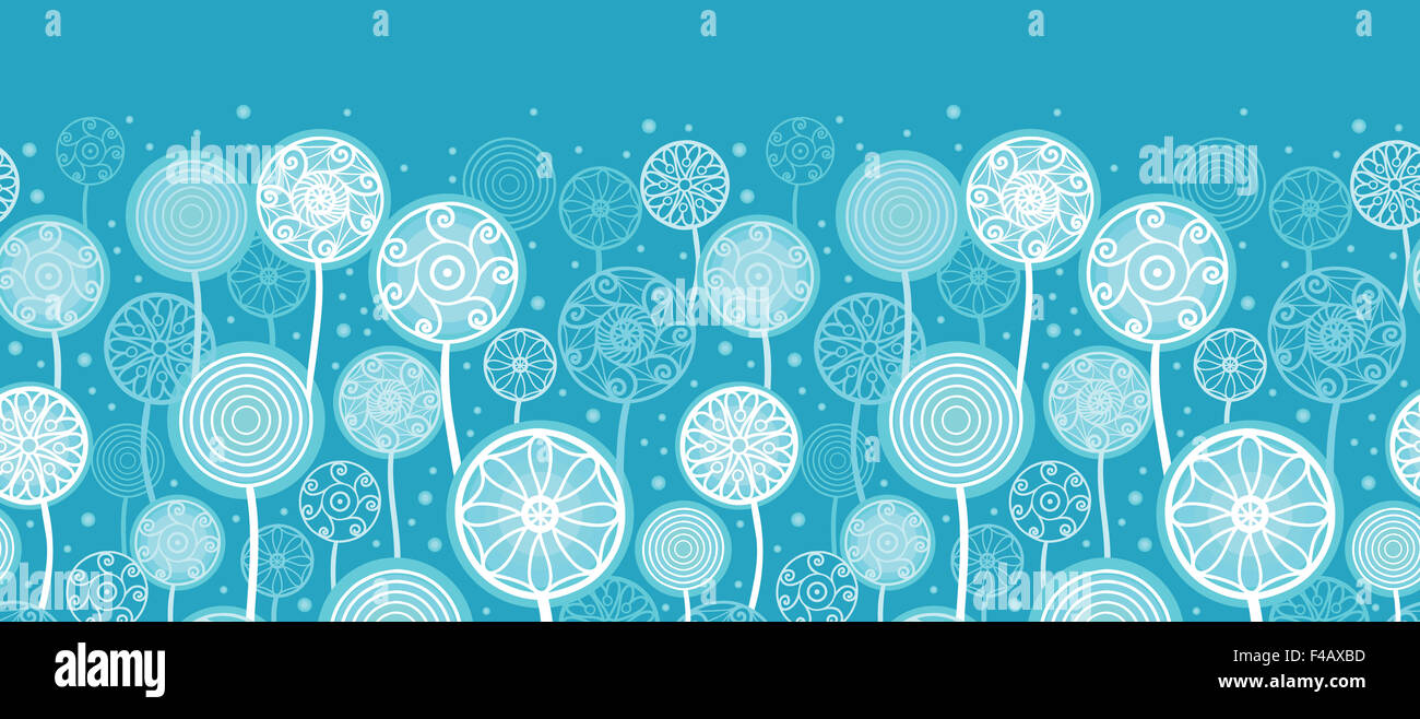 Abstract Dandelion Plants Horizontal Seamless Pattern Ornament - Stock Image