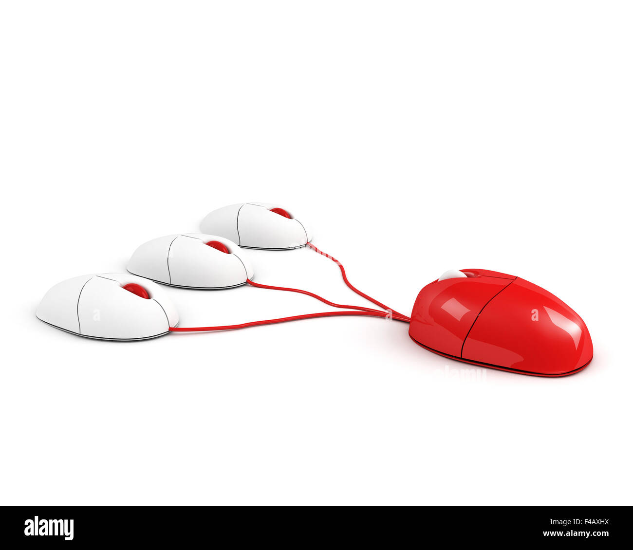 red big boss mouse leading its staff - Stock Image