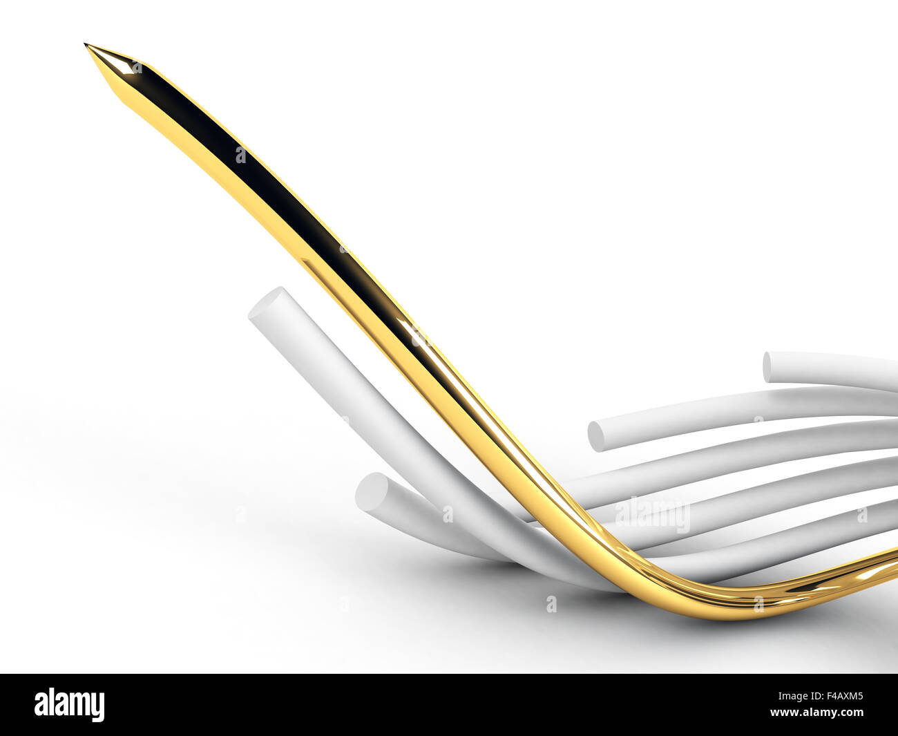 gold leading cable - Stock Image