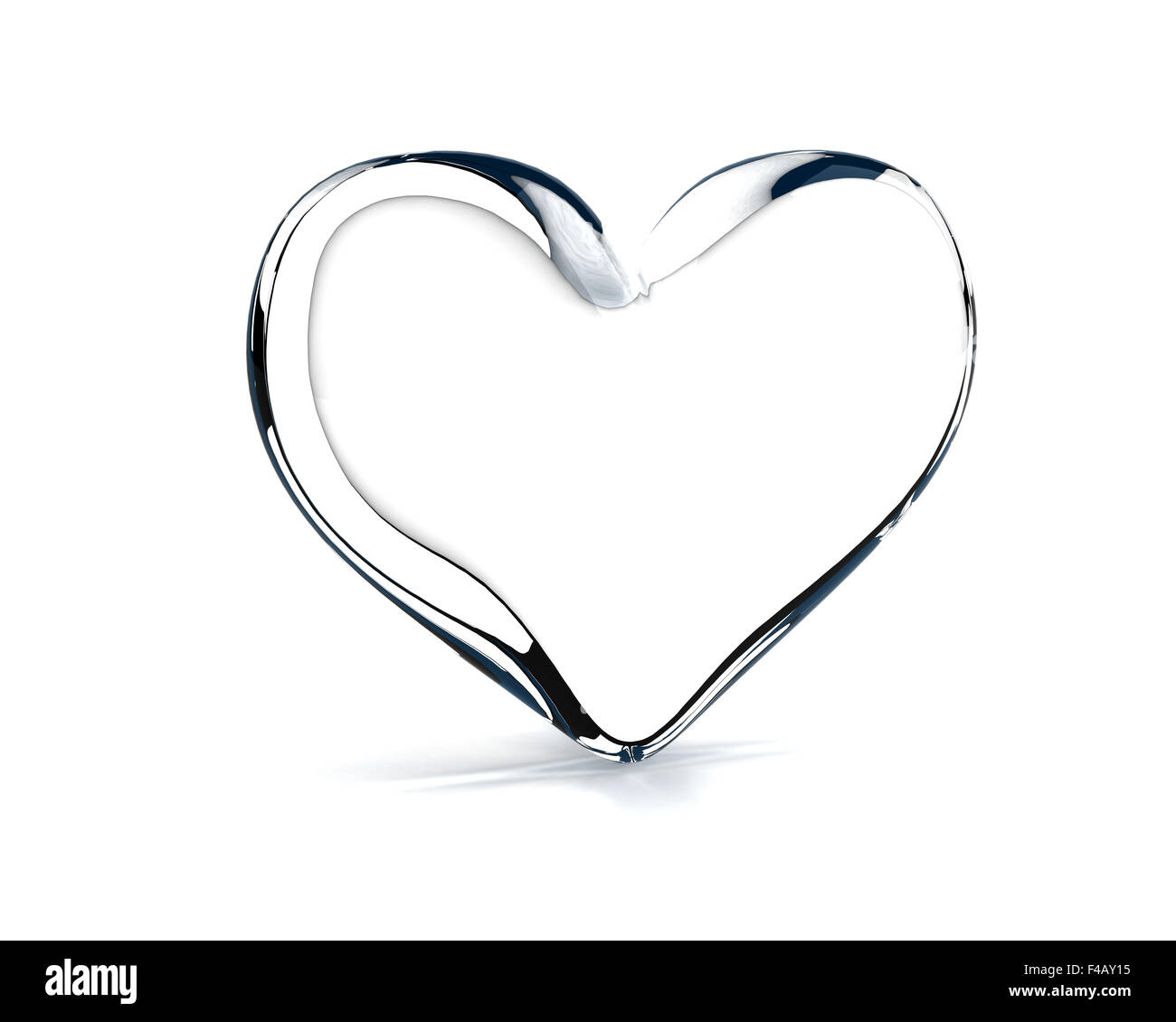 glass heart on the white background - Stock Image