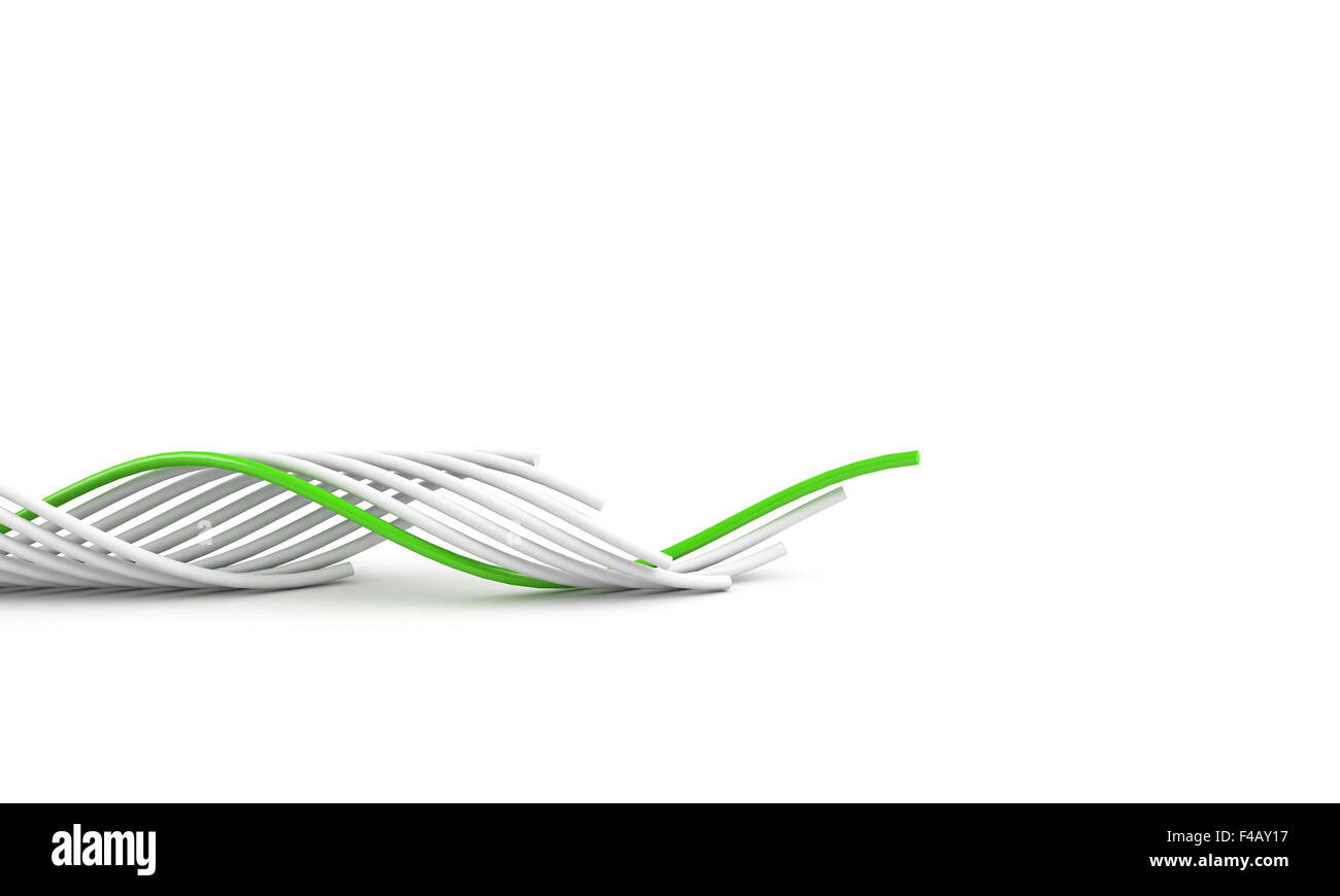green leading cable - Stock Image