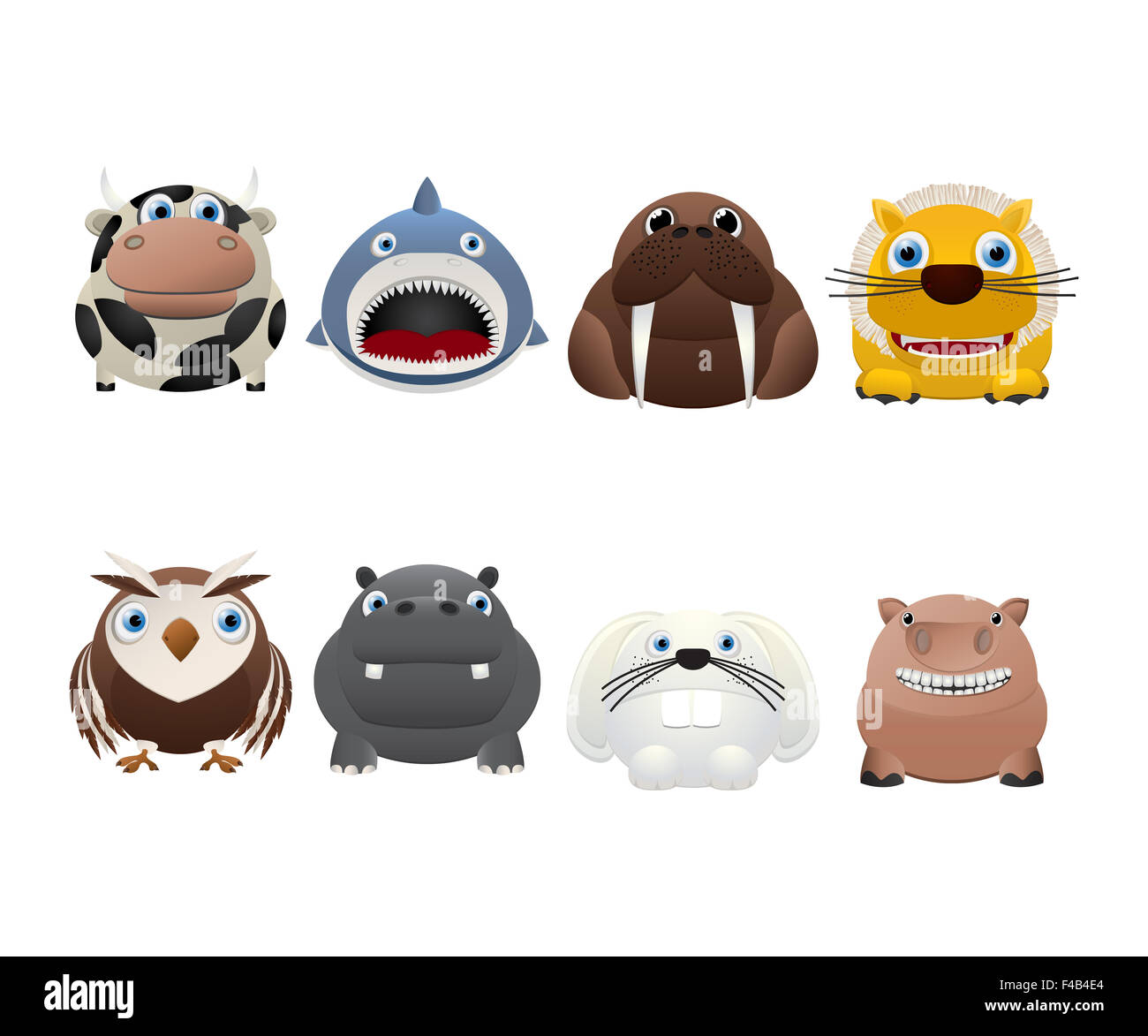 Funny animal icons - Stock Image
