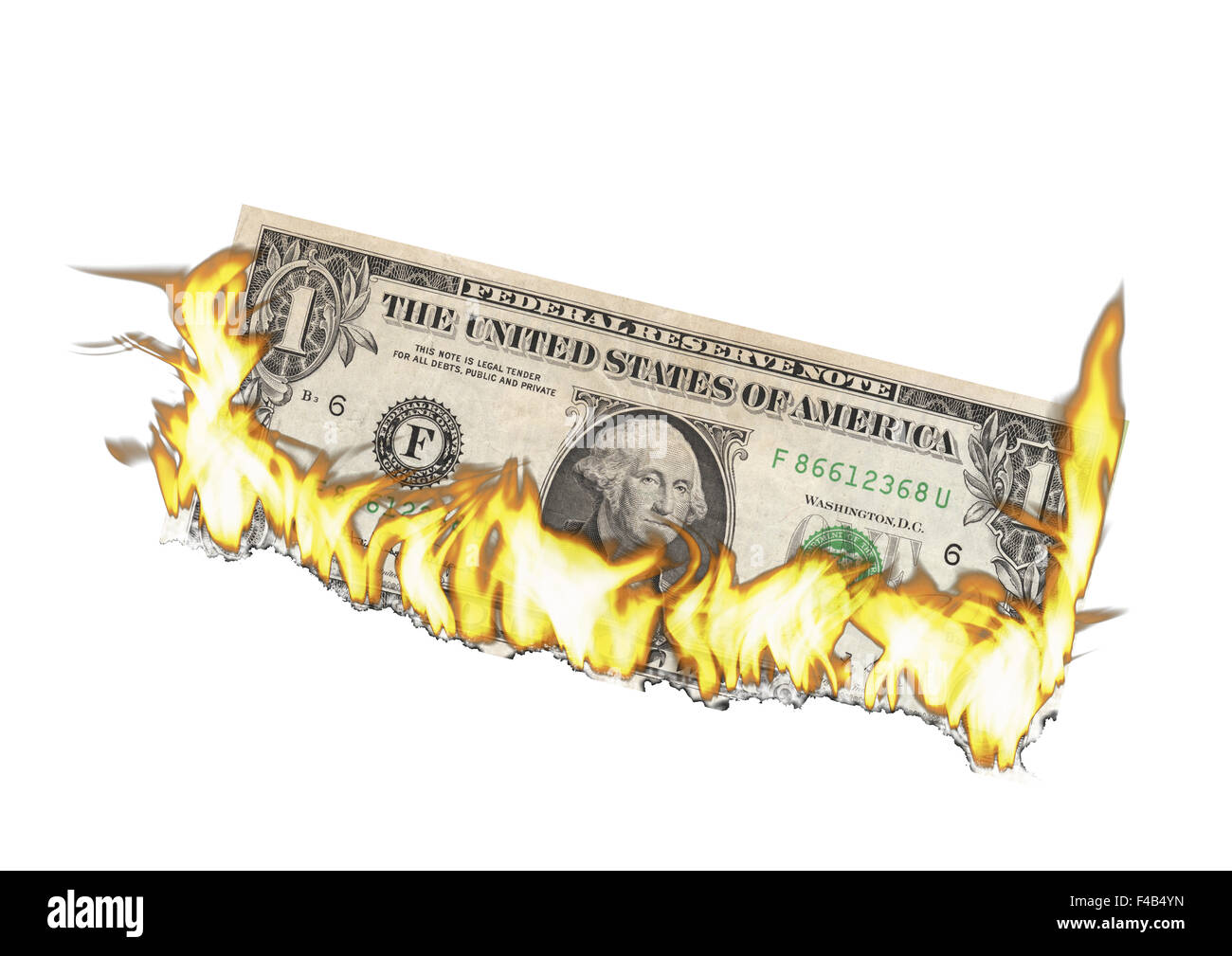 Burning Dollar - Stock Image