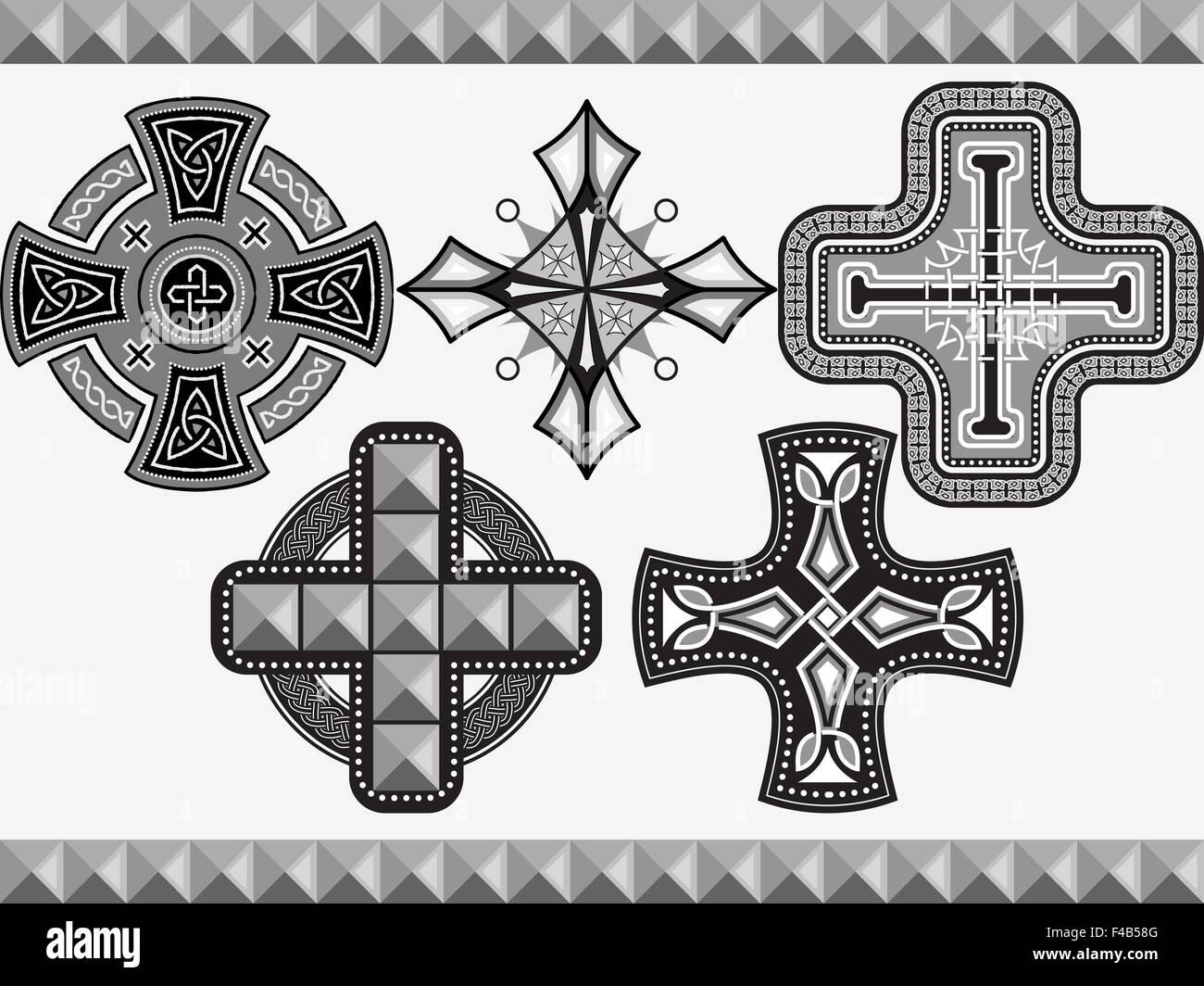 Set celtic crosses - Stock Image