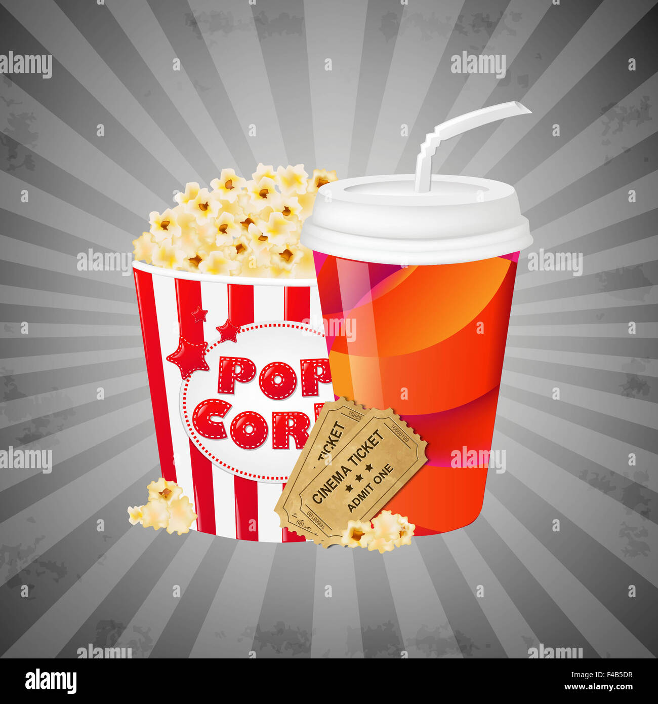 Grey Grungy Background With Popcorn Stock Photo