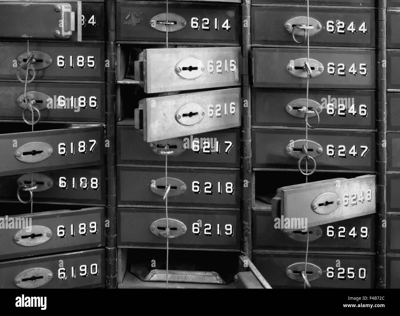 Deposit boxes in a Bank Stock Photo