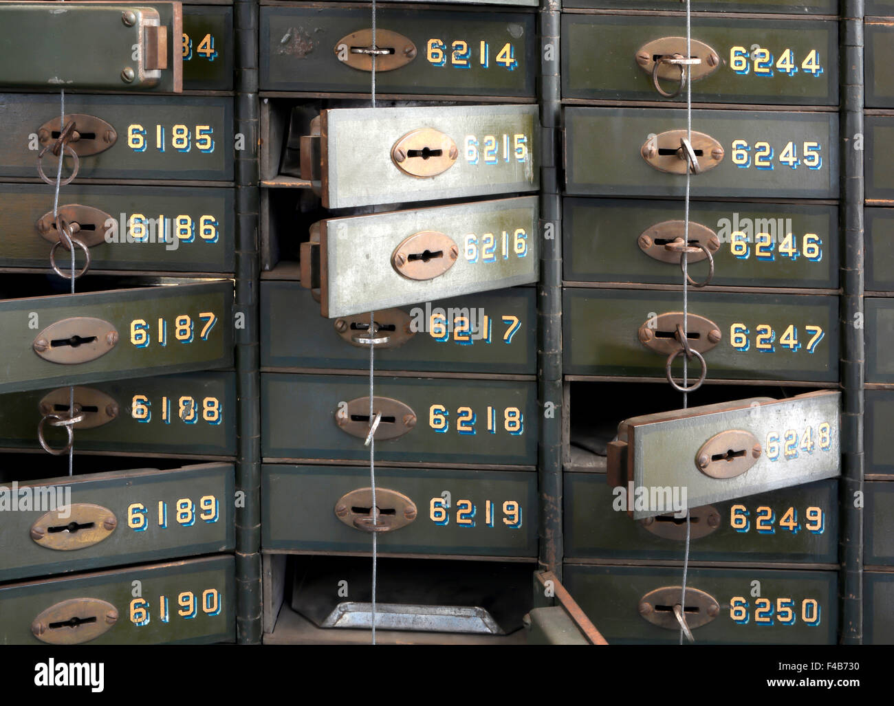 Deposit boxes in a bank - Stock Image