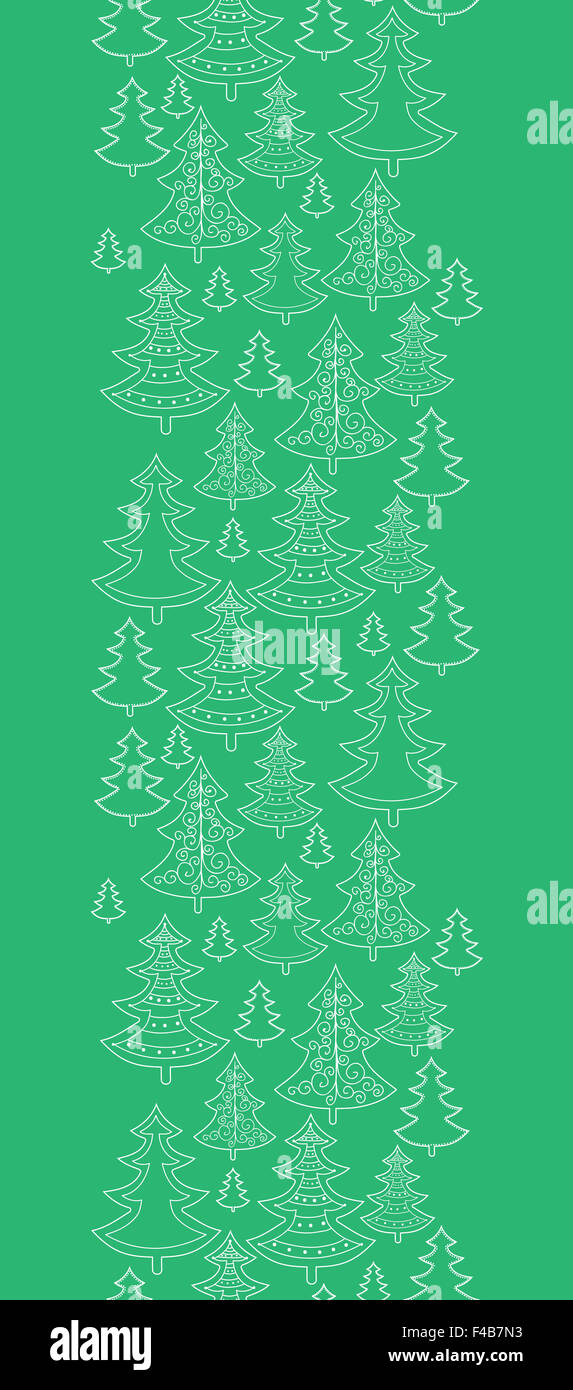 Doodle Christmas Trees Vertical Seamless Pattern Background