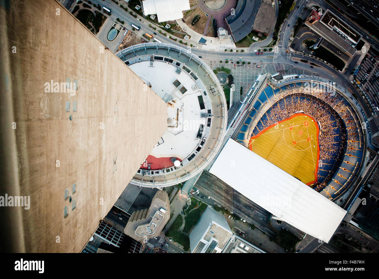 Bird's eye view of the Blue Jays baseball team in Rogers Centre from CN Tower Toronto Canada - Stock Image
