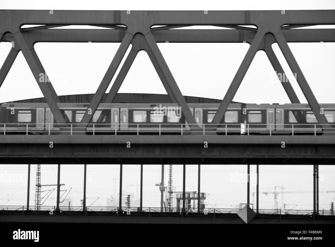 Subway on a railway bridge Stock Photo