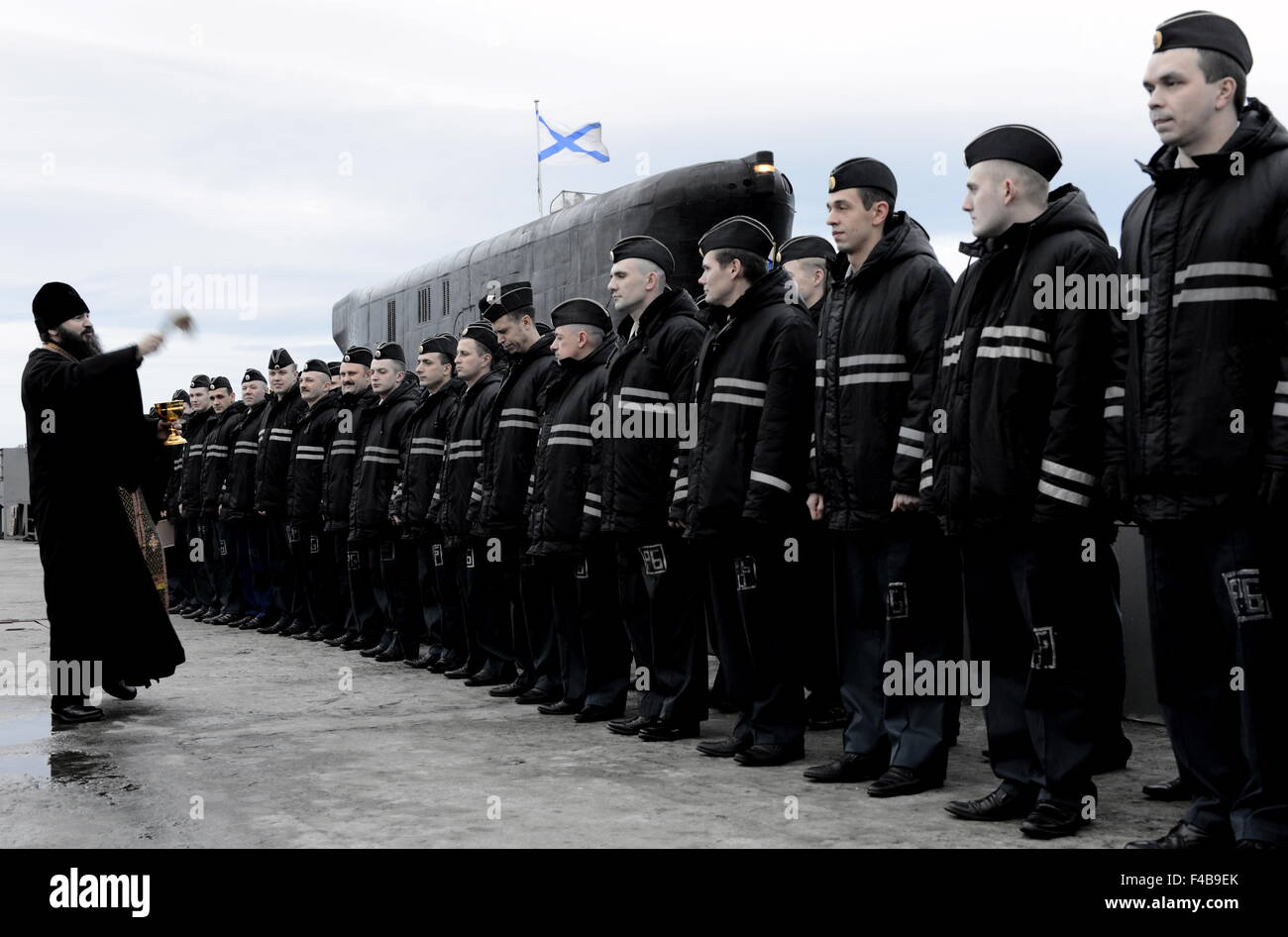 Murmansk Region, Russia. 15th Oct, 2015. A welcome ceremony for Russia's Yury Dolgoruky nuclear-powered ballistic - Stock Image