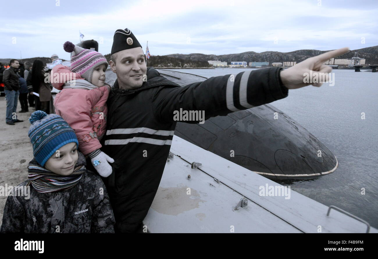 Murmansk Region, Russia. 15th Oct, 2015. A welcome ceremony for crew members of Russia's Yury Dolgoruky nuclear - Stock Image
