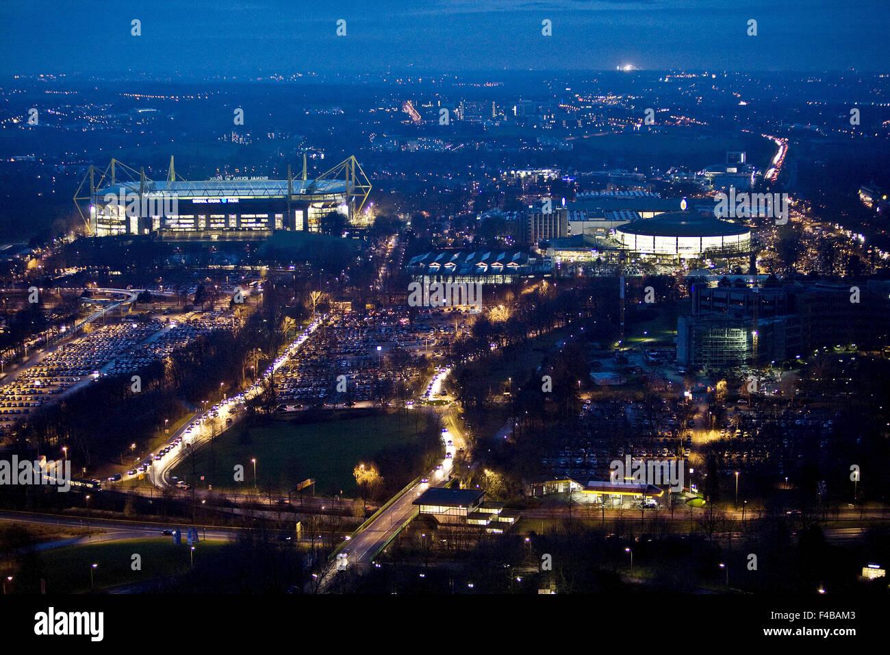 Aerial view at dusk, Dortmund, Germany. - Stock Image