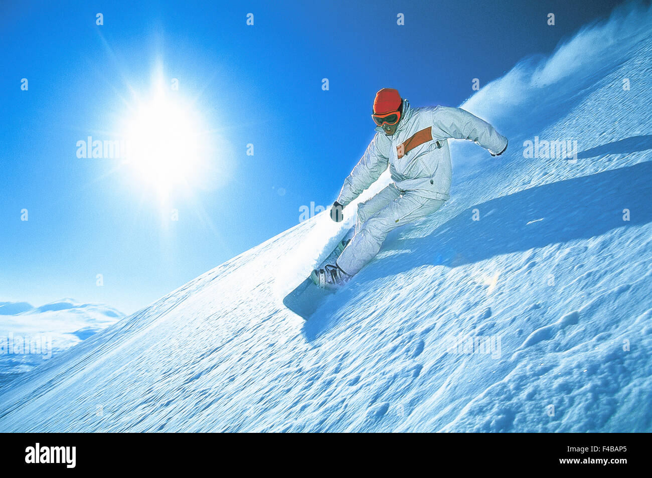 Abisko activity blue catalogue 2 clear sky color image downhill skiing horizontal Lapland leisure lifestyle loose - Stock Image