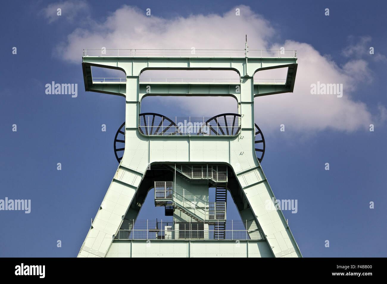 Headframe German Mining Museum in Bochum. - Stock Image