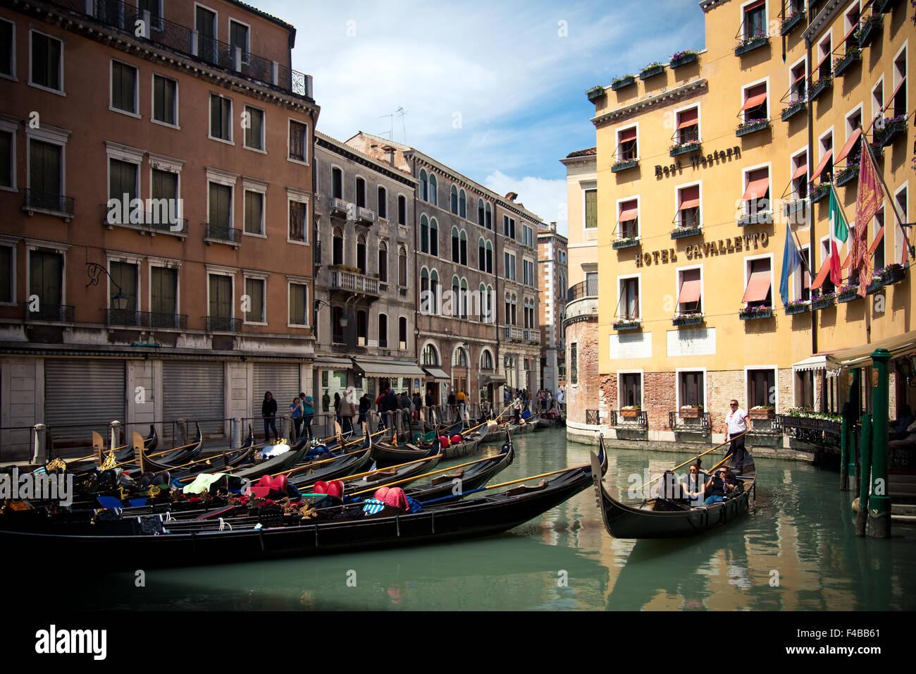 Gondola station Bacino Oresolo on canals in Venice Italy - Stock Image