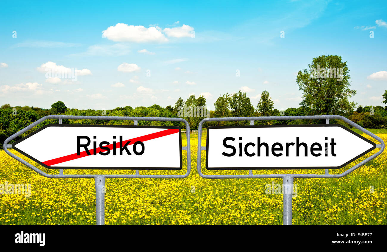 street sign with two words: risk and safety - Stock Image
