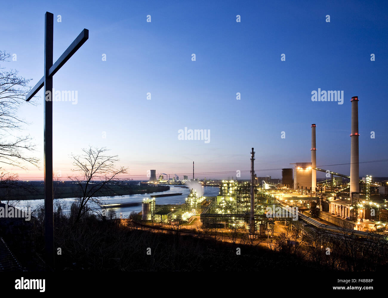 Viewpoint Alsumer mountain, Duisburg, Germany. - Stock Image